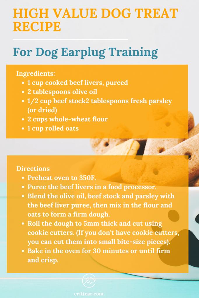 dog treat recipe for dog earplug training - the perfect match! #dogearplug #earplugsfordogs #dogtreatrecipe